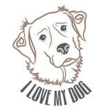 Vektorhund Art With Text Royaltyfri Fotografi