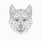Vektorhund i den tunna linjen stil Abstrakt lågt poly djur Vargframsidakontur för banret, vuxna sidor för färgläggningbok och royaltyfri illustrationer