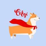 Vektorhundcorgi im Heldkap Zuchtaufschrift im handgemachten Design der Kalligraphie Stockfoto