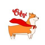 Vektorhundcorgi im Heldkap Zuchtaufschrift im handgemachten Design der Kalligraphie Lizenzfreie Stockfotografie