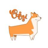Vektorhundcorgi mit handgeschriebener Beschriftung Stockbild