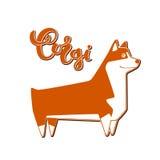 Vektorhundcorgi mit handgeschriebener Beschriftung Lizenzfreie Stockbilder