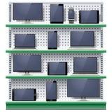 Vektorhyllor med moderna elektroniska apparater Fotografering för Bildbyråer