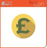 Vektorikone auf weißem Hintergrund Designertendenz Pfund, Ikone, Währung, Geld Für Gebrauch auf der Website oder der Anwendung Lizenzfreie Stockfotos