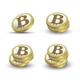 Vektorikone Bitcoin 3D Lizenzfreie Stockfotos