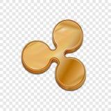 Vektorikone der Art 3d der goldenen Kräuselungsmünze modische Stockbilder