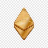 Vektorikone der Art 3d goldener Ethereum-Münze modische Lizenzfreie Stockfotografie