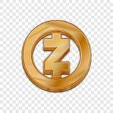 Vektorikone der Art 3d goldener Zcash-Münze modische Lizenzfreie Stockbilder