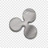 Vektorikone der Art 3d der silbernen Kräuselungsmünze modische Lizenzfreies Stockbild