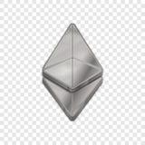 Vektorikone der Art 3d silberner Ethereum-Münze modische Stockfotografie