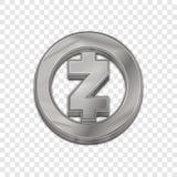 Vektorikone der Art 3d silberner Zcash-Münze modische Stockfoto