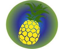 Vektorikone der gelben Ananas mit Grün und mit Hintergrund in der Art tropische Illustration der grünen Abstufungen von den Stran lizenzfreie stockfotografie