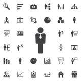 Vektorikone des Geschäftsmannes oder des Managers Stockfotos