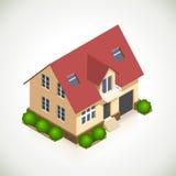 Vektorikone des Hauses 3d mit grünen Büschen vektor abbildung