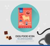 Vektorikone des Hundetrockenen Lebensmittels Haustiersnäcke in den Beuteln Lizenzfreie Stockbilder