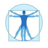 Vektorikone des menschlichen Körpers des vitruvian Mannes Lizenzfreies Stockfoto