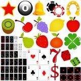 Vektorikone gesetztes Kasino und Spielen Lizenzfreies Stockbild