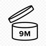 Vektorikone Pao 9m Kosmetisches offenes Monatslebenregal, Verfallzeitraum 9 Monate PAO lizenzfreie abbildung