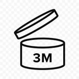 Vektorikone Pao 3m Kosmetisches offenes Monatslebenregal, Verfallzeitraum 3 Monate PAO-Symbol stock abbildung