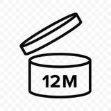 Vektorikone Pao 12m Kosmetisches offenes Monatslebenregal, Verfallzeitraum 12 Monate PAO-Symbol lizenzfreie abbildung