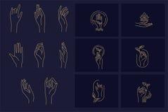 Vektorikone und -logo mit der Hand für Naturkosmetik und trockene Haut sich interessieren Editable Entwurfsanschlaggröße Linie fl vektor abbildung