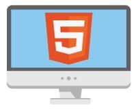 Vektorikone von Personal-Computer mit html5 Lizenzfreie Stockfotos