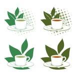 Vektorikonen des grünen und schwarzen Tees Stockbild
