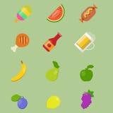 Vektorikonen des Lebensmittels Stockbilder