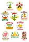 Vektorikonen eingestellt für mexikanisches Schnellrestaurant Stockfotografie