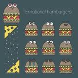 Vektorikonen eingestellt von den emotionalen Hamburgern Stockbilder