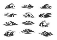 Vektorikonen eingestellt von den Meereswogen lizenzfreie abbildung