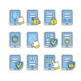 Vektorikonen eingestellt von der beweglichen Sicherheit Smartphone-Sicherheitskonzept Stockbild
