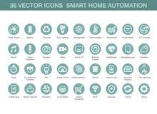 Vektorikonen für intelligente Hausautomation Stockfotografie