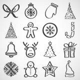 Vektorikonen für neues Jahr und Weihnachten Stockbild