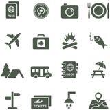 Vektorikonen für Reise und Tourismus. Lizenzfreies Stockbild
