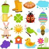 Vektorikonen: Frühlings-Jahreszeit-Thema Stockfotografie