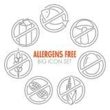 Vektorikonen für Allergene geben Produkte frei Lizenzfreie Stockbilder