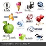 Vektorikonen: glänzend und 3d - Set 4 Lizenzfreies Stockfoto