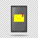 Vektorikonen-Handy sms Eine neue Mitteilungsmitteilung EMail lizenzfreie abbildung