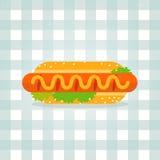 Vektorikonen-Hotdogillustration Unbedeutendes Lebensmittel Stockfotografie