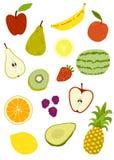 Vektorikonen-Illustrationssatz der Frucht Hand gezeichneter lokalisierter lizenzfreie abbildung