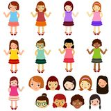 Vektorikonen: Mädchen, Frau, Kinder Stockfoto