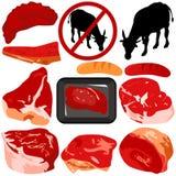 Vektorikonen: Rindfleisch, Schweinefleisch, Wurst Stockfoto
