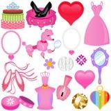 Vektorikonen: Süßes rosafarbenes Prinzessin Set für Diva Stockbild