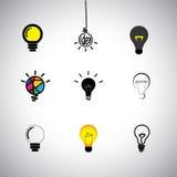 Vektorikonen stellten von der unterschiedlichen Idee u. von den Glühlampen ein vektor abbildung