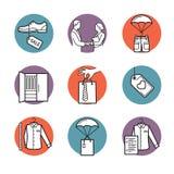 Vektorikonen von Kleidung kaufen, verkaufen, Lieferung Stockbilder