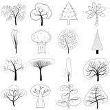 Vektorikonen von verschiedenen Bäumen stock abbildung