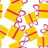 Vektorikonengeschenkbox Glückwünsche am Feiertag, Kasten mit einem nahtlosen Muster des Bogens auf einem weißen Hintergrund lizenzfreie abbildung