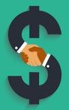 Vektorikonenhändedruck auf Geldzeichen vektor abbildung