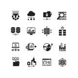 VEKTORikonensatz der Informationstechnologie der großen Datendatenbankanalytikwolke Datenverarbeitungsdigitaler Verarbeitungs Stockfoto
